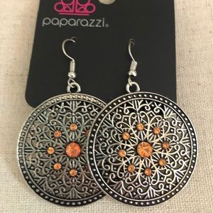 Boho round medallion earrings w/ orange accents